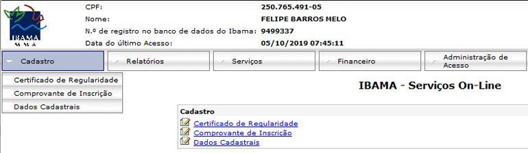 Certificado de regularidade e Comprovante de inscrição - CTF/APP IBAMA