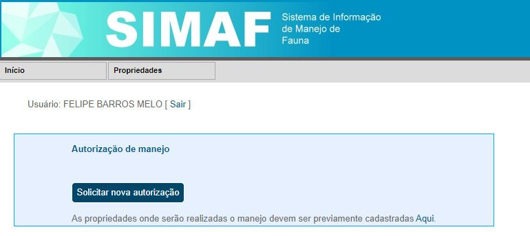SIMAF - Autorização de manejo - Cadastro de caçador no IBAMA