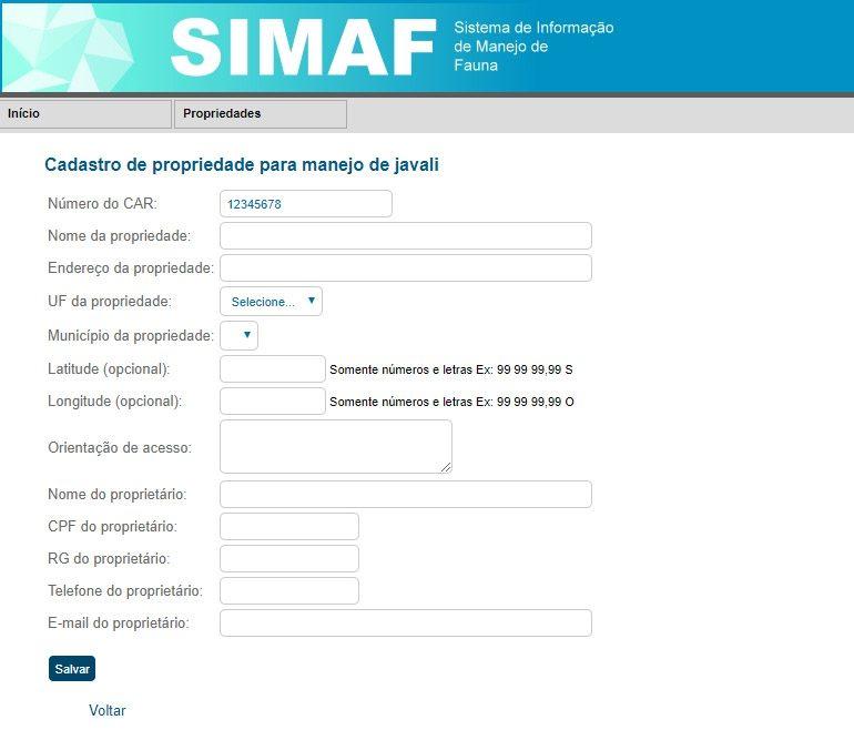 SIMAF - Cadastro de propriedades para caça de javali