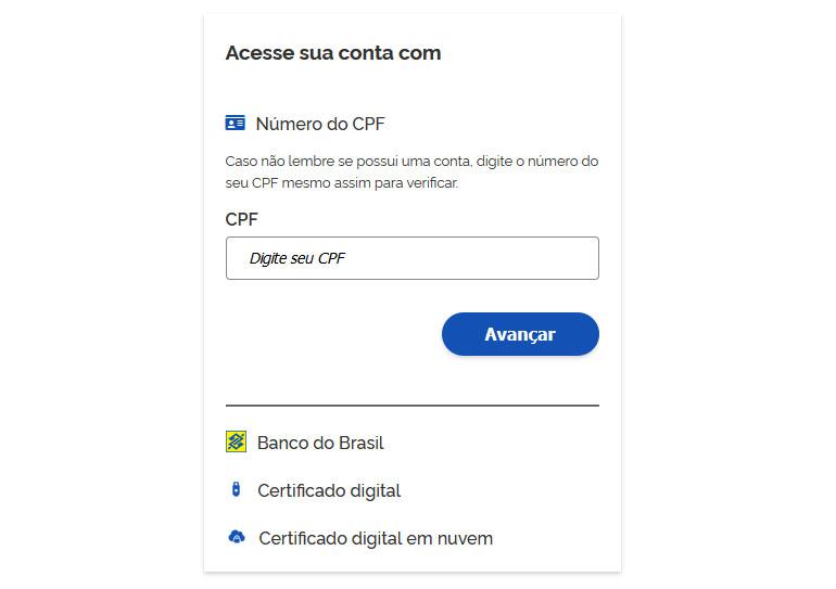 login na conta gov.br para acessar os serviços digitais do governo