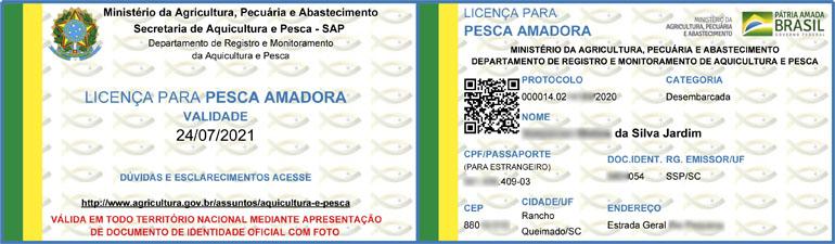 Carteira de pesca definitiva - Licença para pesca amadora