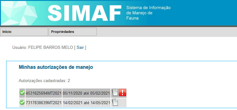 Autorizacao de Manejo - SIMAF