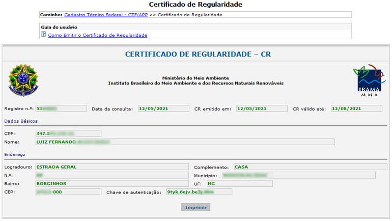 Certificado de Regularidade - CR