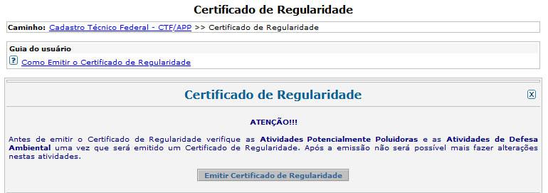 Emitir Certificado de Regularidade do IBAMA