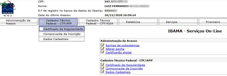 Renovar o Certificado de Regularidade do IBAMA – CTF/APP